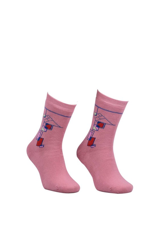 Modemo - Geometrik Desenli Havlu Çorap 2050 | Pembe
