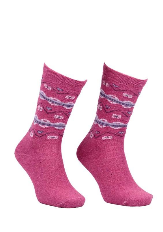 ÖZMEN - Desenli Yün Çorap 3010 | Fuşya