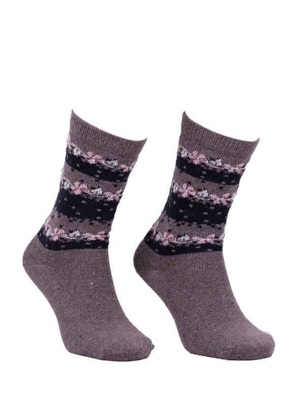 ÖZMEN - Desenli Yün Çorap 3011 | Kahverengi