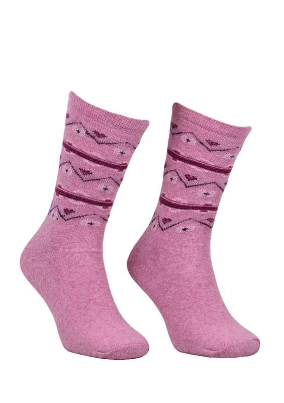 ÖZMEN - Desenli Yün Çorap 3010 | Pembe