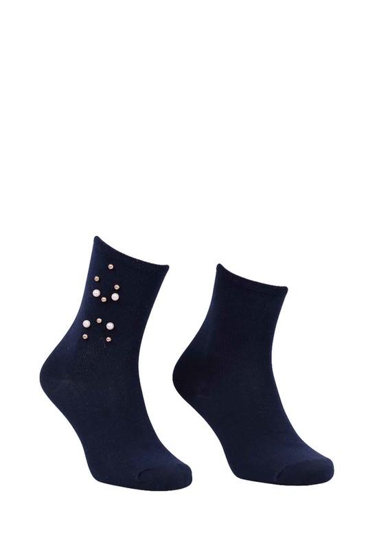 PAMELA - Boncuklu Düz Çorap 619   Lacivert