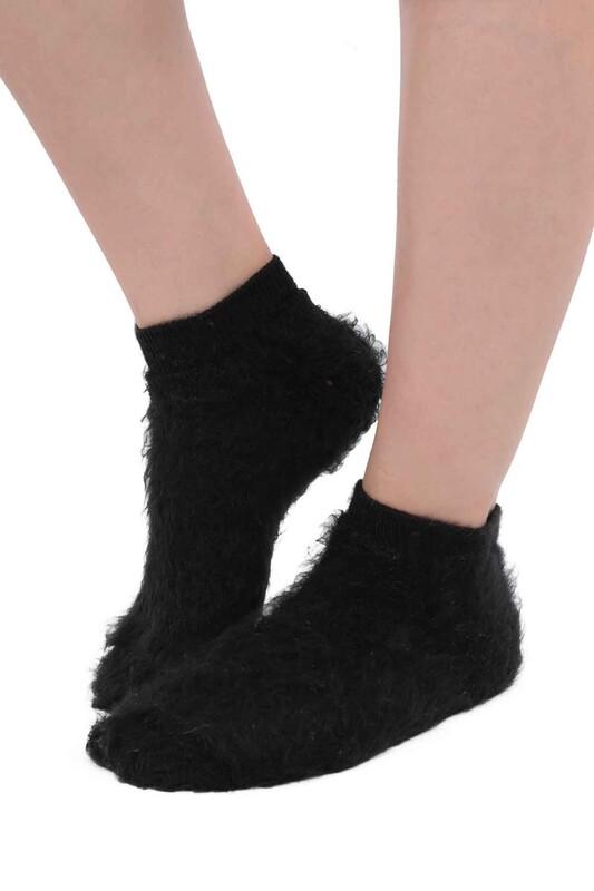 SİMİSSO - Dışı Şardonlu Termal Kadın Havlu Patik Çorap 3031   Siyah