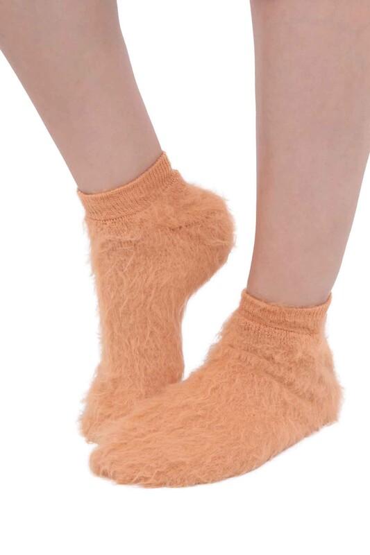 SİMİSSO - Dışı Şardonlu Termal Kadın Havlu Patik Çorap 3031 | Kahve