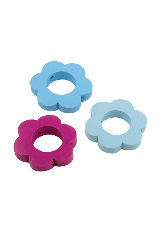 SİMİSSO - Amigurumi Renkli Çiçek Halka 3'lü 3 cm
