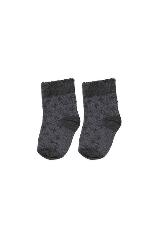 SİMİSSO - Desenli Çocuk Çorap 915   Füme