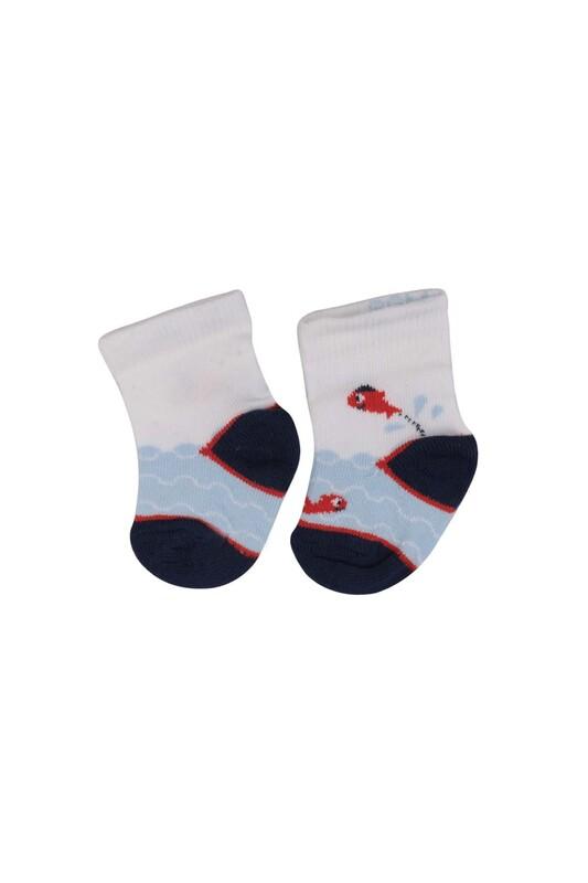 SİMİSSO - Desenli Çocuk Çorap 916   Beyaz
