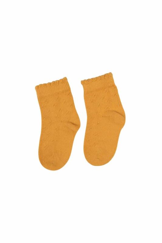 SİMİSSO - Desenli Çocuk Çorap 917   Hardal