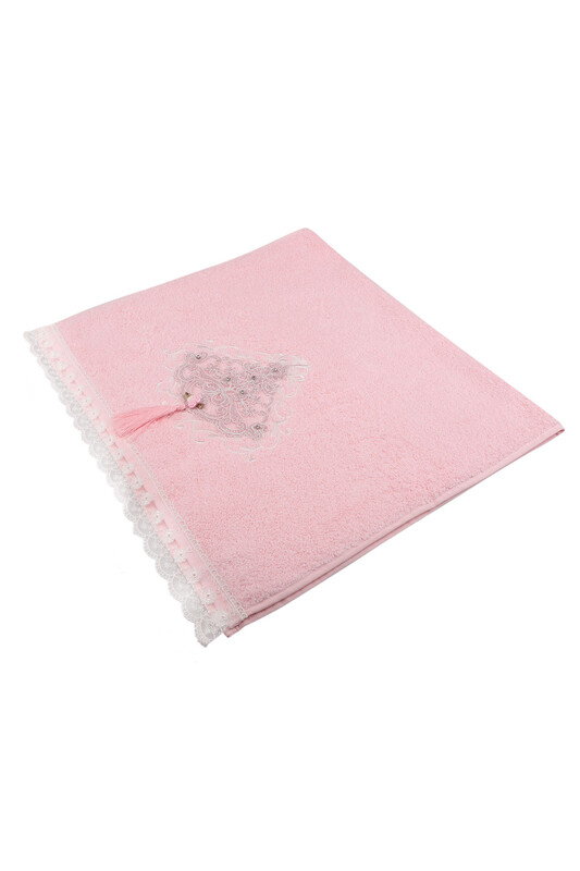 BEĞENAL - Полотенце с гипюровыми вставками 50*90см./розовый