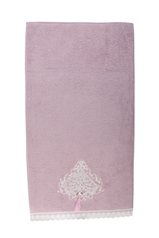 BEĞENAL - Полотенце с гипюровыми вставками 50*90см./лиловый