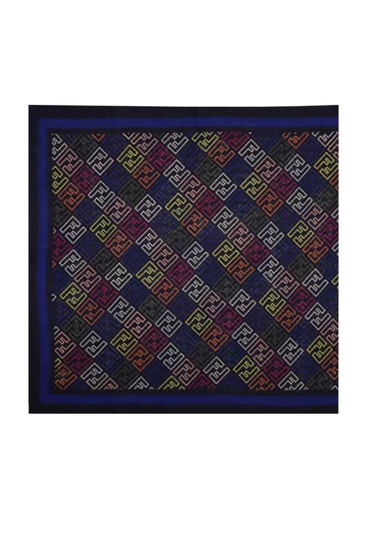 FENDİ - Кашемировая шаль Fendi с буквенным принтом 85*200/синий-сакс