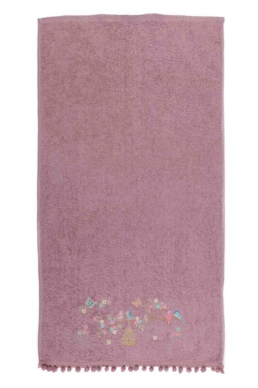 SİMİSSO - Полотенце с помпонами 50*90см./тёмно-розовый