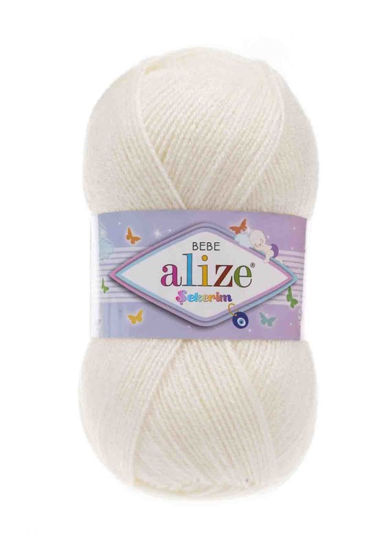 Alize - Alize Şekerim Bebe El Örgü İpi Açık Krem 062
