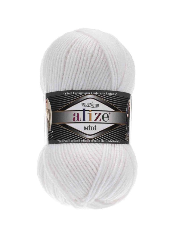 Alize - Alize Superlana Midi El Örgü İpi Beyaz 055