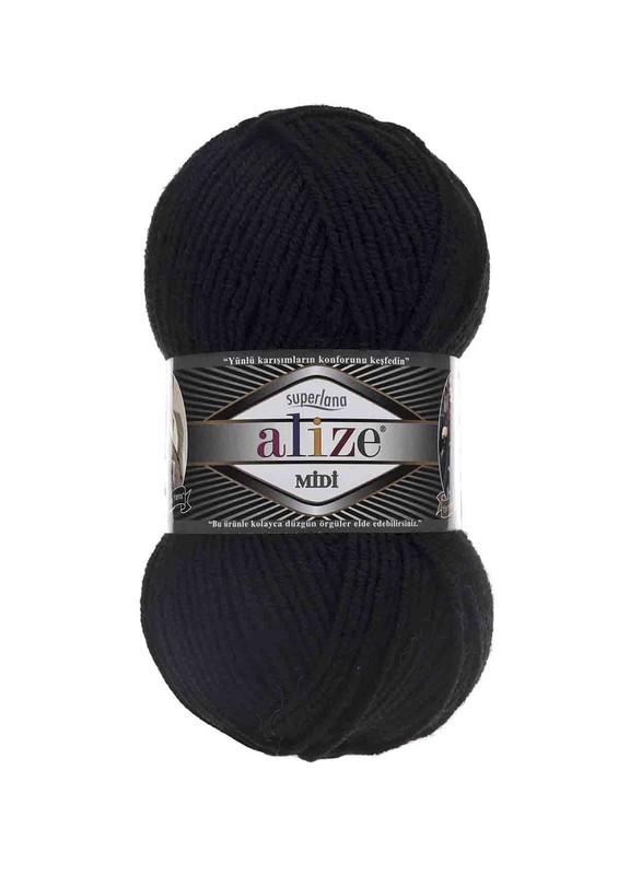 Alize - Alize Superlana Midi El Örgü İpi Siyah 060