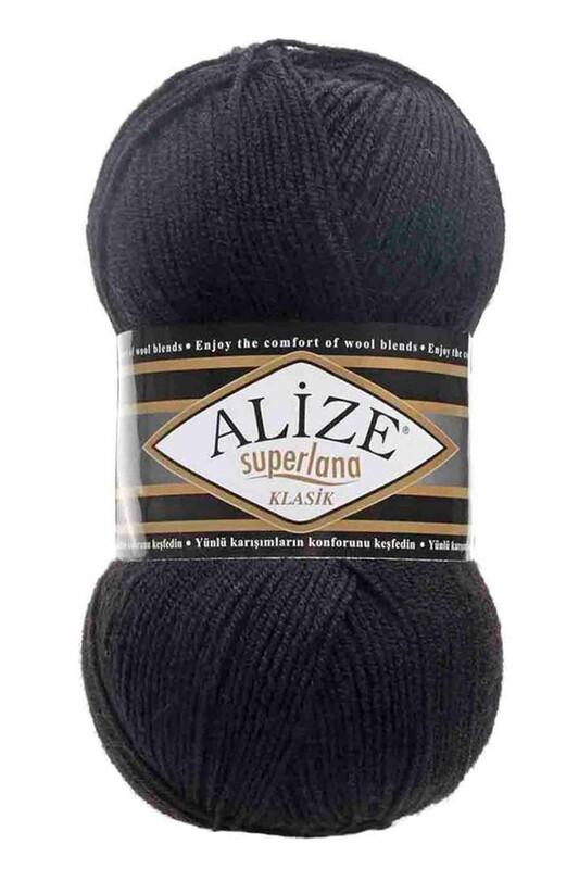 Alize - Alize Superlana Klasik El Örgü İpi Siyah 060