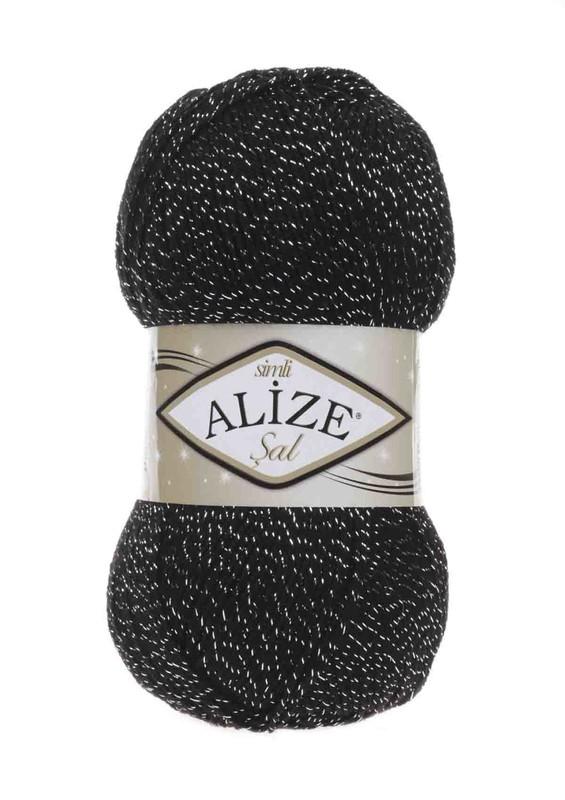 Alize - Alize Şal Sim El Örgü İpi Siyah Gümüş 6001