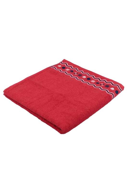 FİESTA - Fiesta Dümen İşlemeli Banyo İşlemeli Kırmızı 70*140