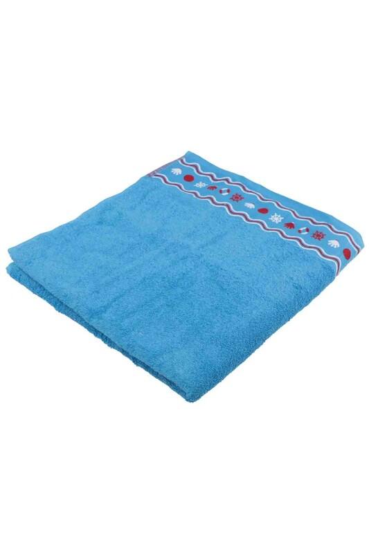 FİESTA - Fiesta Dümen İşlemeli Banyo Havlusu Mavi 70*140
