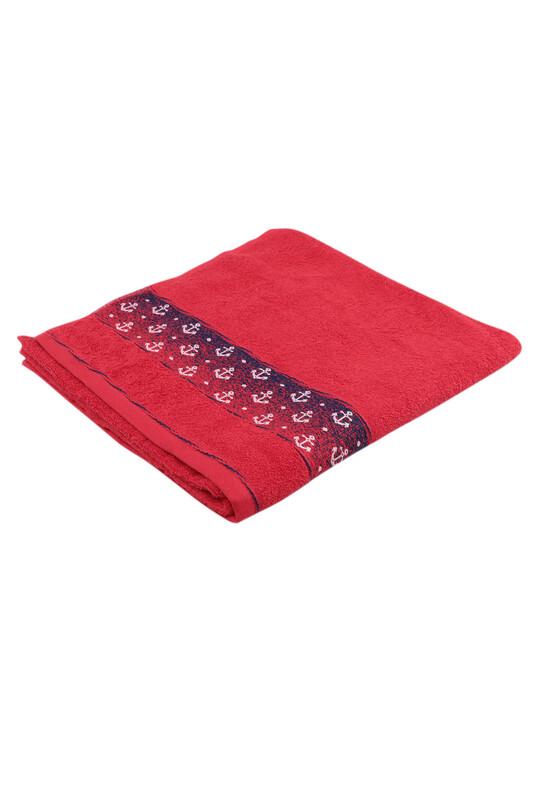 FİESTA - Fiesta Çapa İşlemeli Banyo Havlusu Kırmızı 70*140