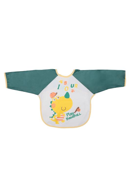BUUDE - Dinazor Desenli Kollu Bebek Mama Önlüğü 6555 | Yeşil