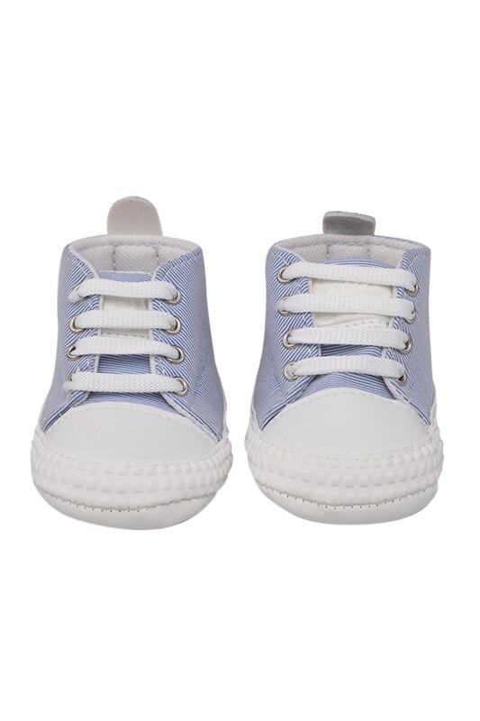 SİMİSSO - Kareli Bağcıklı Bebek Ayakkabısı | Mavi