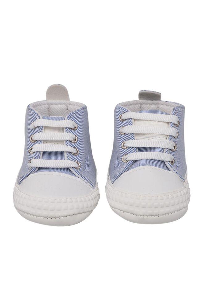 Kareli Bağcıklı Bebek Ayakkabısı | Mavi