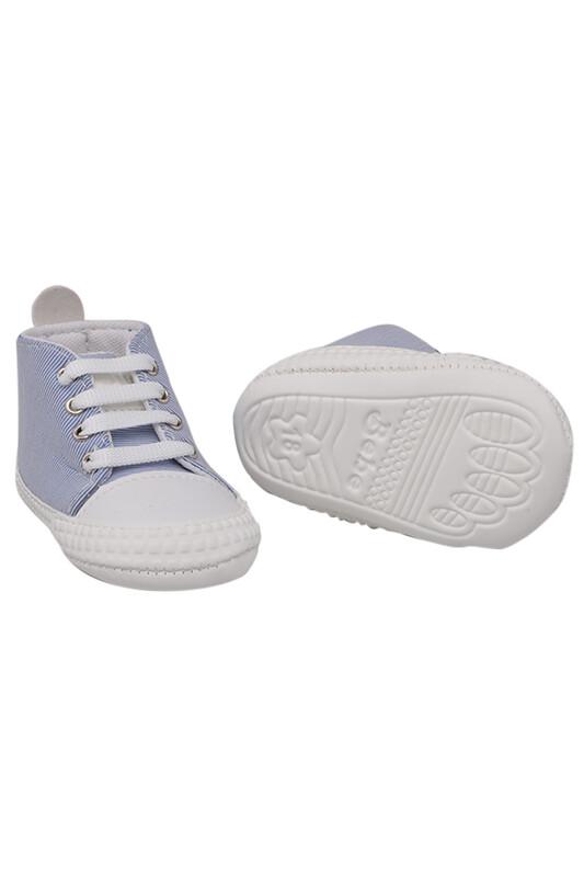 Kareli Bağcıklı Bebek Ayakkabısı | Mavi - Thumbnail