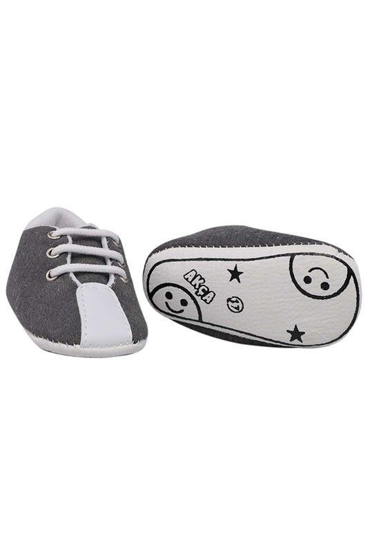 SİMİSSO - Bağcıklı Bebek Ayakkabası | Gri