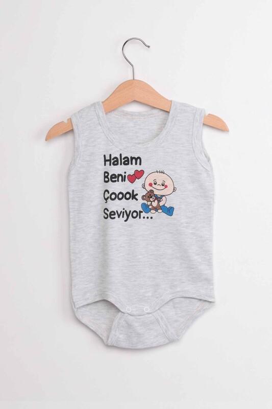 SİMİSSO - Halam Beni Çok Seviyor Bebek Zıbın | Gri