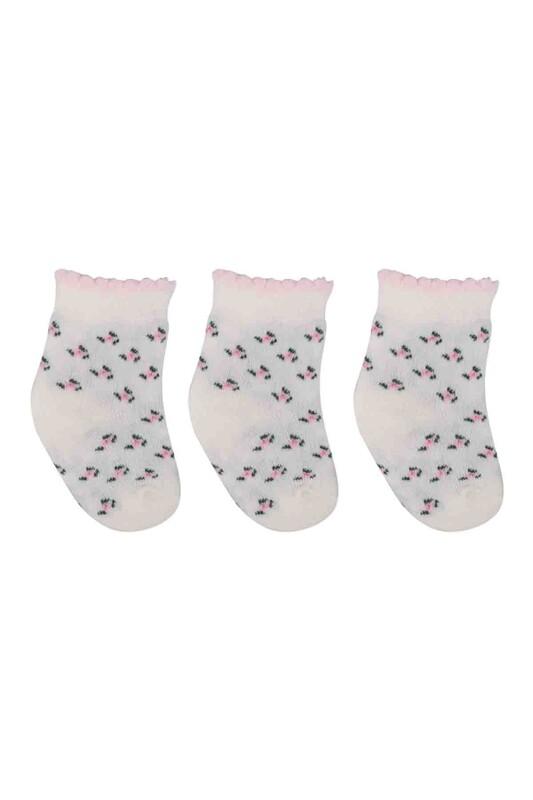 ÖZMEN - Özmen Çiçek Desenli Soket Çorap 3'lü | Krem