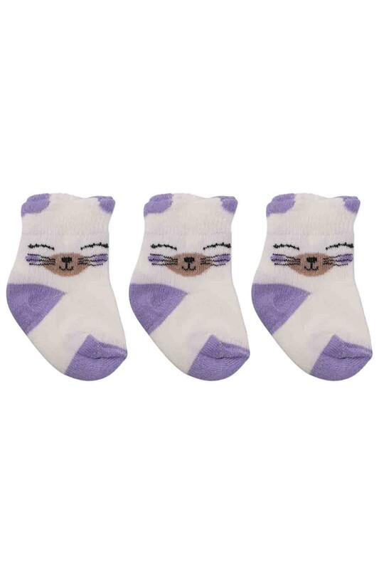 ÖZMEN - Özmen Kedi Desenli Soket Çorap 3'lü | Lila