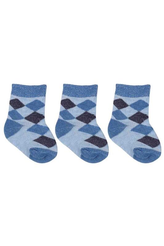 ÖZMEN - Özmen Baklava Desenli Soket Çorap 3'lü | Mavi