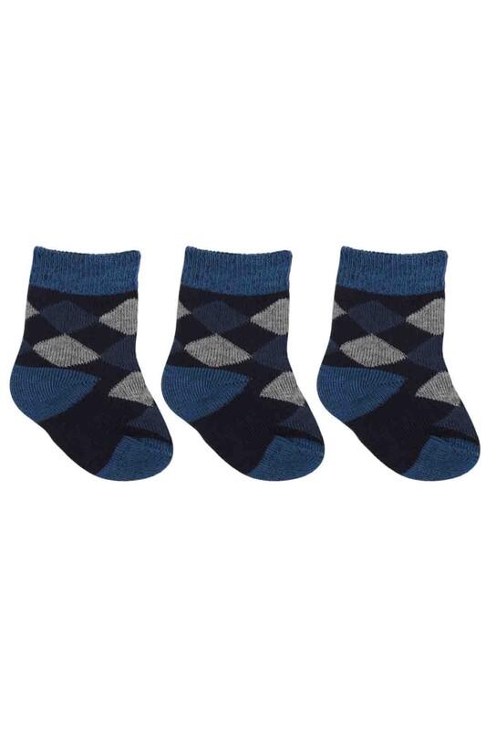 ÖZMEN - Özmen Baklava Desenli Soket Çorap 3'lü | Lacivert