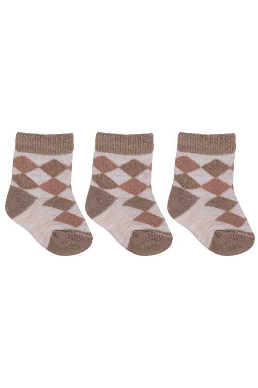 ÖZMEN - Özmen Baklava Desenli Soket Çorap 3'lü   Kahve