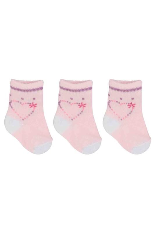 ÖZMEN - Özmen Kalp Desenli Soket Çorap 3'lü | Pudra