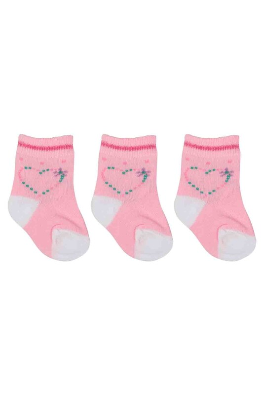 ÖZMEN - Özmen Kalp Desenli Soket Çorap 3'lü | Pembe