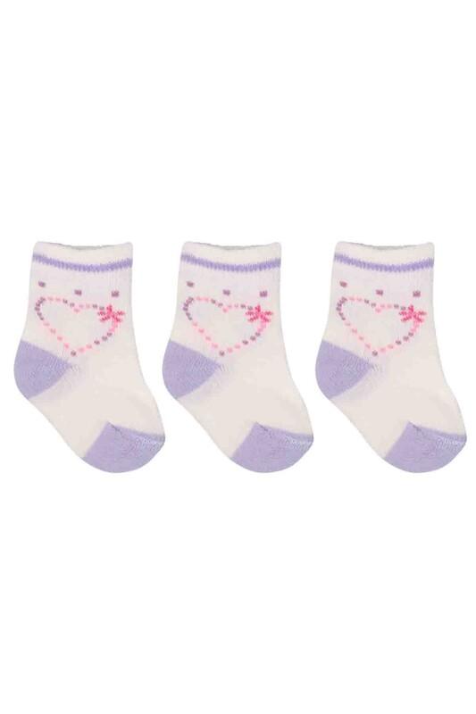 ÖZMEN - Özmen Kalp Desenli Soket Çorap 3'lü | Krem