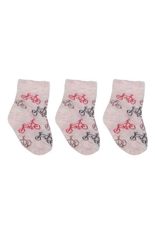 ÖZMEN - Özmen Bisiklet Desenli Soket Çorap 3'lü | Krem