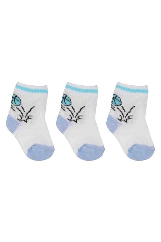 ÖZMEN - Özmen Top Desenli Soket Çorap 3'lü   Beyaz