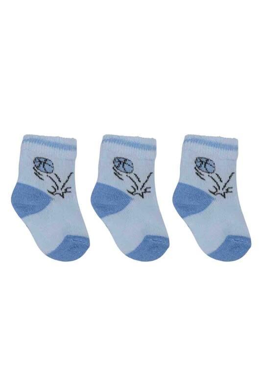 ÖZMEN - Özmen Top Desenli Soket Çorap 3'lü | Mavi
