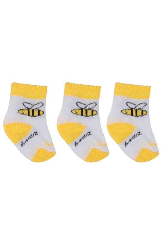 ÖZMEN - Özmen Arı Desenli Soket Çorap 3'lü | Sarı