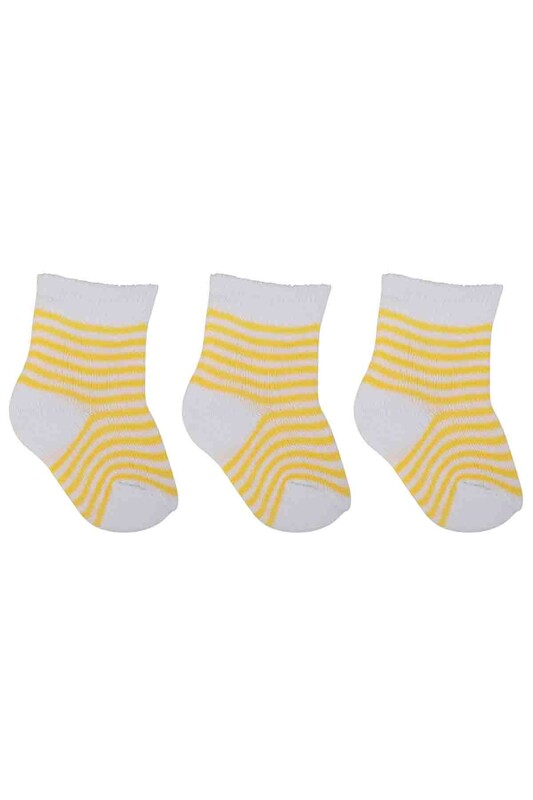 ÖZMEN - Özmen Çizgi Desenli Soket Çorap 3'lü | Sarı