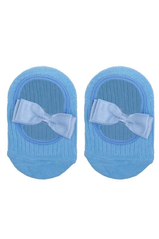 ÜNLÜ BABY - Fiyonklu Kız Bebek Babet Çorap   Bebe Mavi