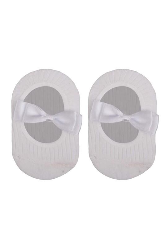 ÜNLÜ BABY - Fiyonklu Kız Bebek Babet Çorap   Beyaz