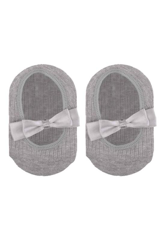 ÜNLÜ BABY - Fiyonklu Kız Bebek Babet Çorap   Gri