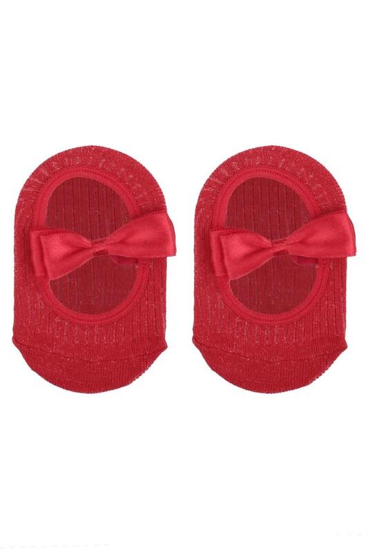 ÜNLÜ BABY - Fiyonklu Kız Bebek Babet Çorap   Kırmızı