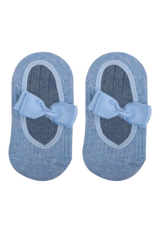 ÜNLÜ BABY - Fiyonklu Kız Bebek Babet Çorap   Mavi