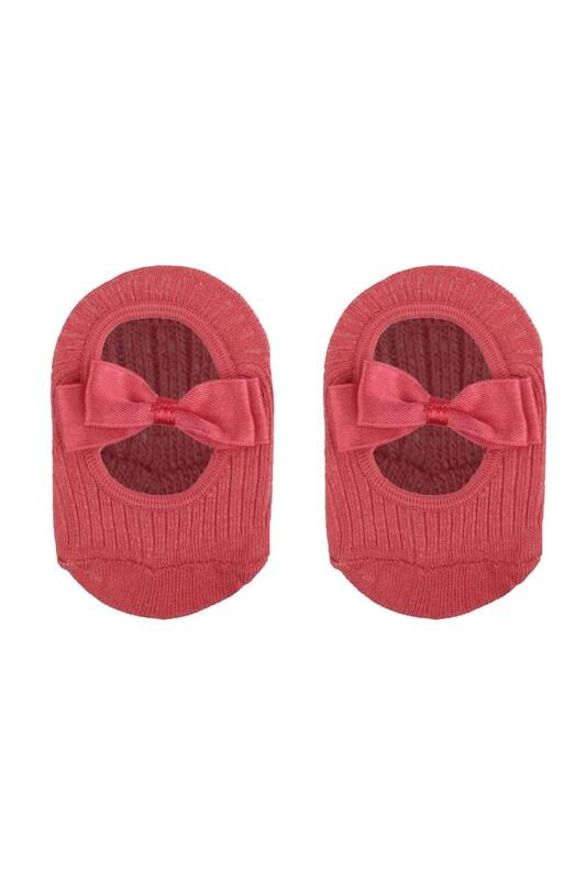 ÜNLÜ BABY - Fiyonklu Kız Bebek Babet Çorap | Mercan