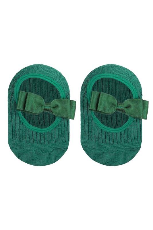 ÜNLÜ BABY - Fiyonklu Kız Bebek Babet Çorap | Yeşil