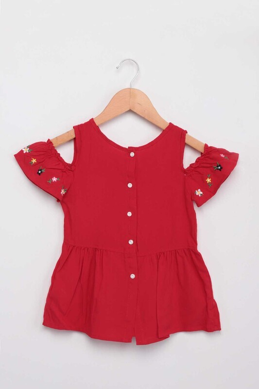 Damla - Nakışlı Kız Bebek Elbise | Kırmızı